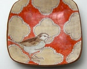RESERVED--Plate with Hand Drawn Bird and Pattern - OOAK