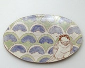 Oval Shaped Dish with Bird-OOAK