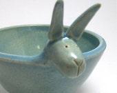 RESERVED--Ceramic Bunny Bowl in Robin's Egg Blue