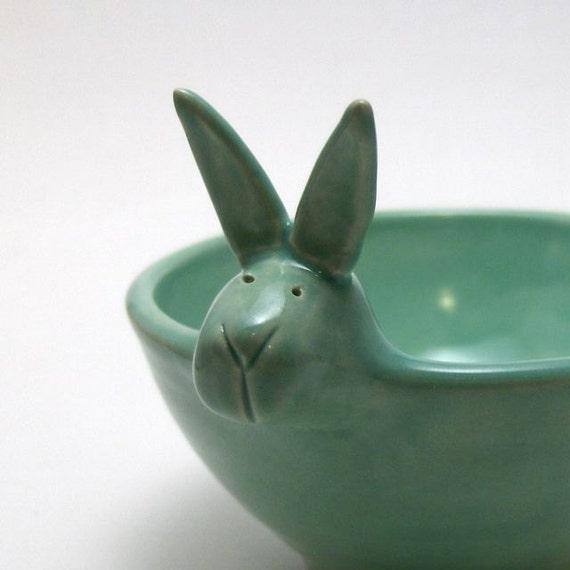 Ceramic Bunny Bowl in Mint Green