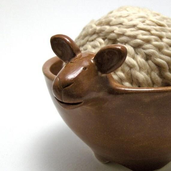 Lamb Shaped Ceramic Yarn Bowl