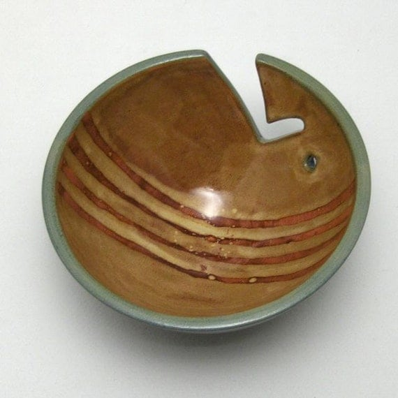 Ceramic Yarn Bowl with Gold and Burgundy Stripes