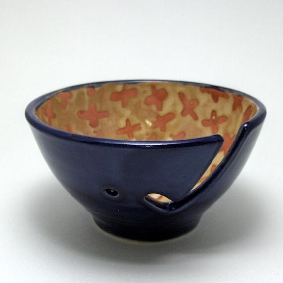 Ceramic Yarn Bowl in Gold, Blue and Burgundy