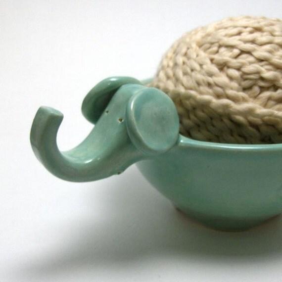 Elephant Yarn Bowl in Mint Green