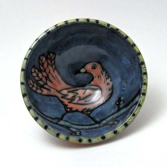 Ceramic Bowl with Hand Painted Bird