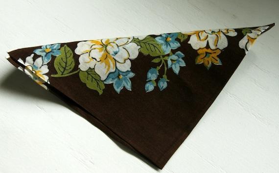 Vintage Handkerchief Aqua and Brown Floral