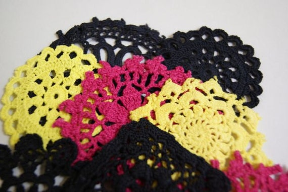 Kalea--- Hand dyed vintage doilies, steele grey, yellow and raspberry pink