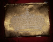 Gold Satin Cosmetic Bag Purse with Crown Embroidery Steampunk