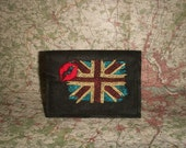 Embroidered Union Jack with a Kiss Passport Cover Holder