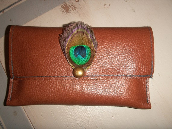 Peacock Feather on Tan Leather Iphone Sleeve