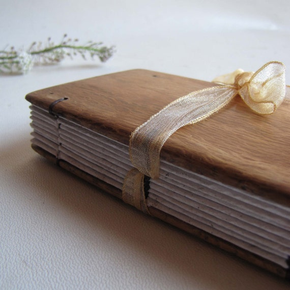 Small journal  with wooden covers and organza ribbon