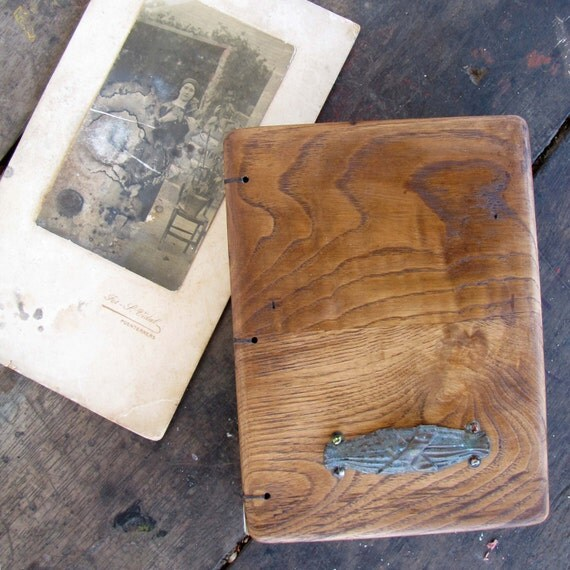 Diary / shabby chic guest book s  with wooden covers from antique furniture,  with old metal application, hand bound with   recycled paper
