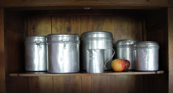vintage kitchen aluminum canisters collection set of 5 and  jug