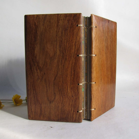 Notebook hard  covers local wood recycled paper coptic