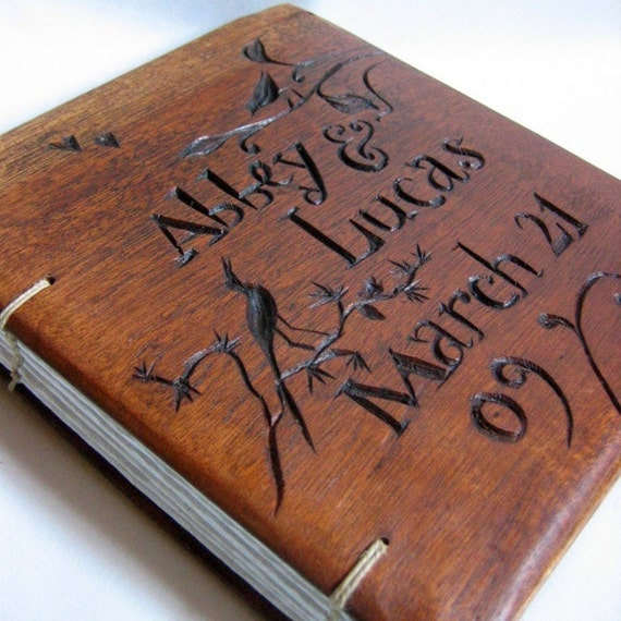Diy Wooden Book Cover ~ Wedding personalized book by lacunawork on etsy