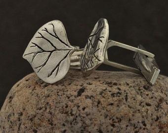 Silver Aspen Leaf Cuff Links