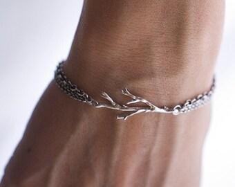 Silver Oak Branch Bracelet
