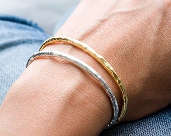 Silver and Plated Gold Raw Cuff Set