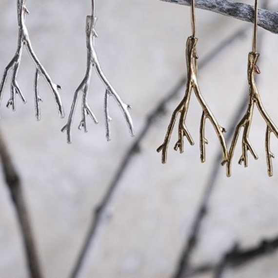 SALE Silver Oak Branch Earrings