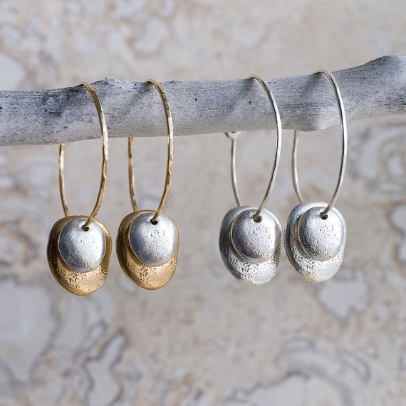 Gold, Silver & Bronze River Rock Hoops | Nature Inspired