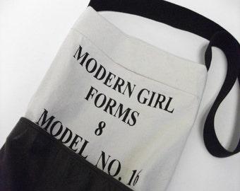 Mixed Media Modern Girl Messenger Crossbody Bag