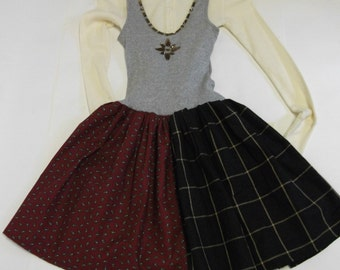 Gym Locker Grey with Plaid  Bling Jumper Dress