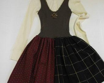 Plaid Mixed Media Jumper  Dress