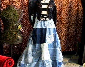 CUSTOM Deconstructed Reconstructed Denim Ball Skirt YOUR SIZE