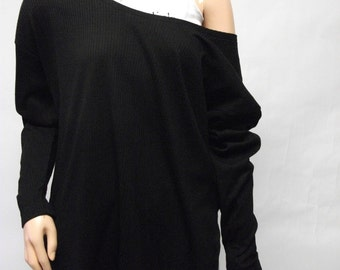 Black Off Shoulder Ribbed Oversized Top