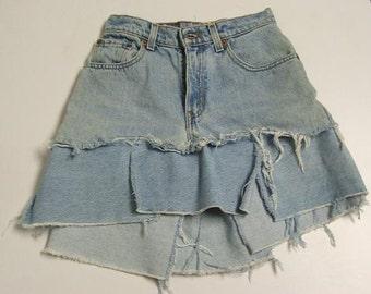 CUSTOM Tattered Denim Car Wash Skirt YOUR SIZE