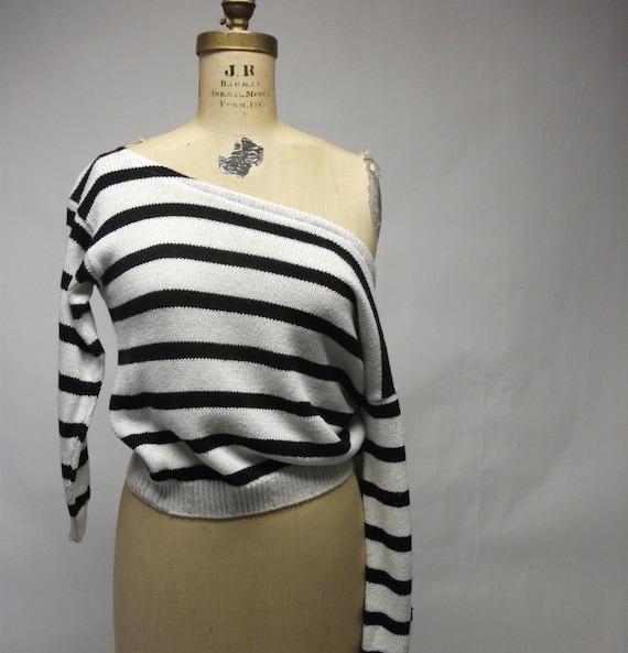 Off Shoulder Shrunken Stripey Sweater
