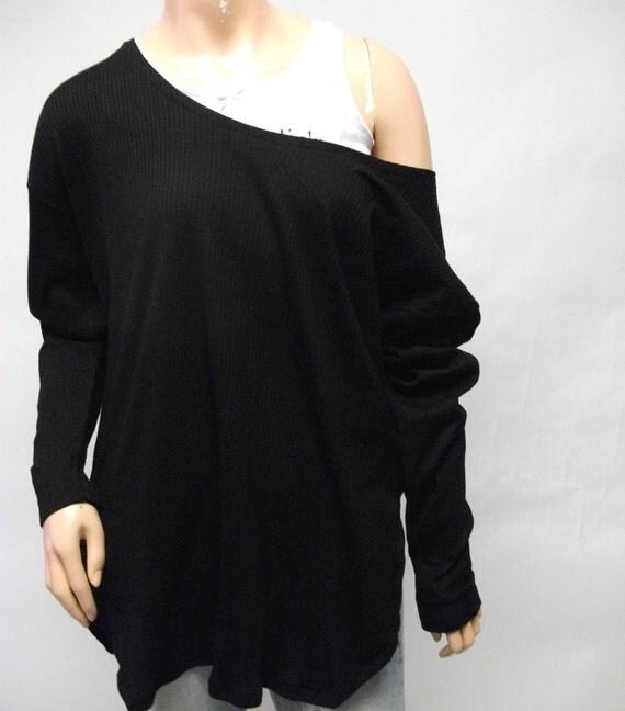Black Off Shoulder Ribbed Oversized Top