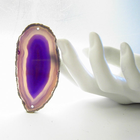 11-446 Polished Agate  Slice luscious purple w  two drilled holes  for Jewelry Windchimes Stained Glass or Gemtree Bases