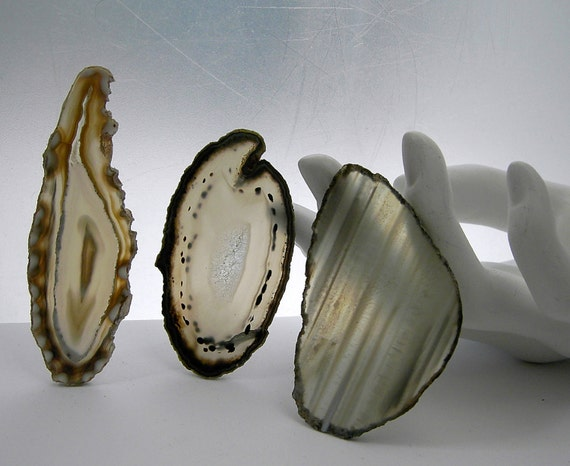 Three  Agate  Slices tan beige  undrilled    for Jewelry  Pendants Necklaces Cuffs Windchimes Stained Glass  Mosaics beigetrio6