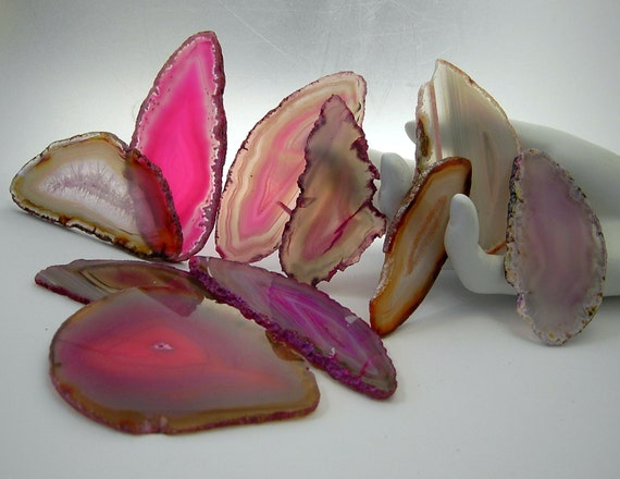 10 Pieces Agate Geodes SECONDS rosy sunrise pink beige  for Jewelry Windchimes Stained Glass or Gemtree Bases  seconds23