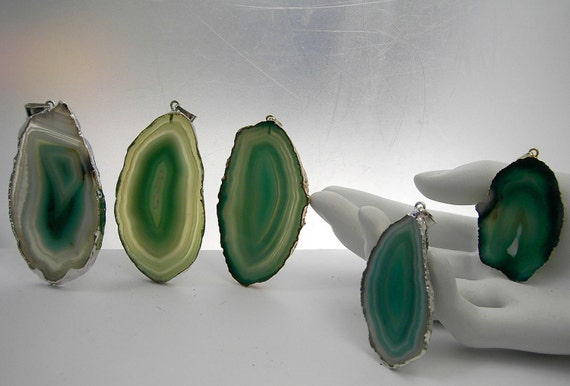 Agate Slice  green with  Rim and Bail all set to go for Pendant Necklace  Your choice of  one