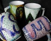 Custom Hand Painted Monogram Coffee Mug
