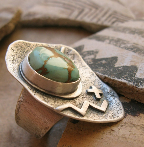 SALE Natural Turquoise and Sterling Petroglyph Ring
