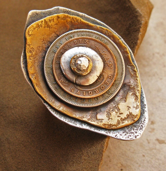 Stacked and Riveted Eye Ring with Vintage Coins, Bronze, Fine Silver
