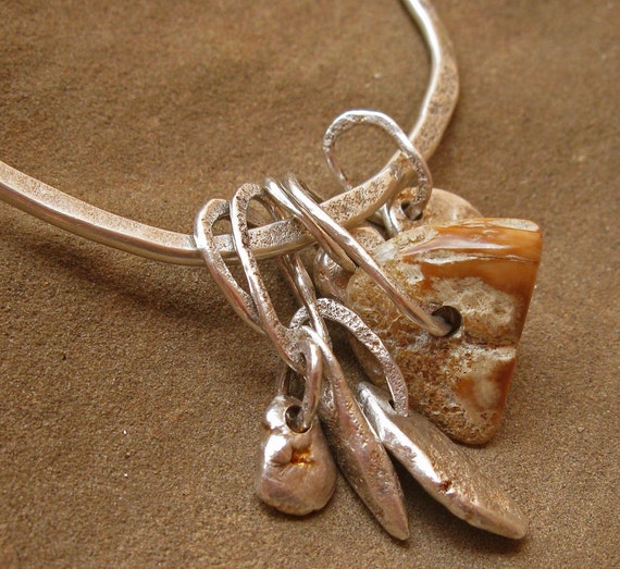 Fossil Ivory and Fine Silver Nugget Charm Bangle Bracelet