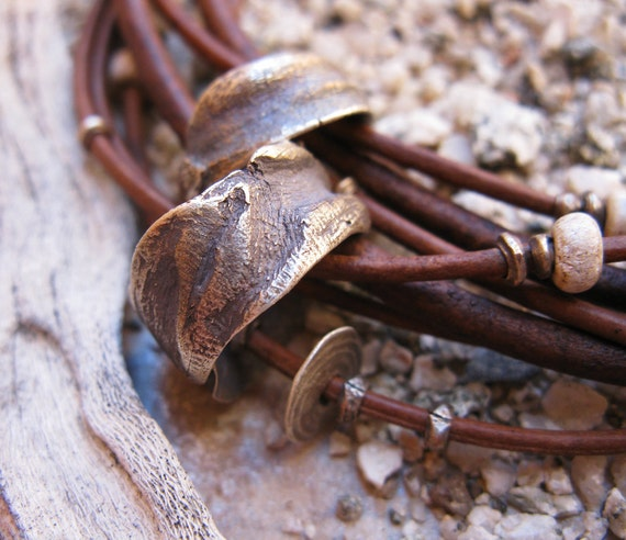 Multistrand Leather Choker with Sterling Silver Sliders, Vintage African Beads, and Snake Vertebrae