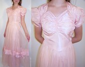 SALE Vintage 40s Pink Party Dress Gown Long Tulle & Taffeta Bow XS