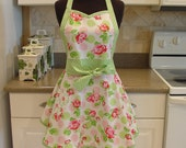 Shabby Chic Apron . . . falling roses with green dots
