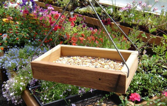 Wood tray style bird feeder, from reclaimed wood and hardware