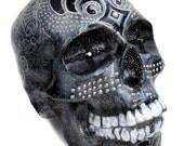 Hand Painted Ceramic Skull Bank in Swarovski Crystal and Hematite Metallic