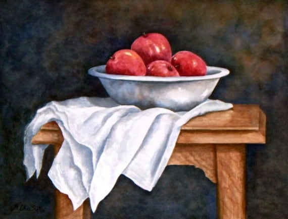 Apples and White Bowl