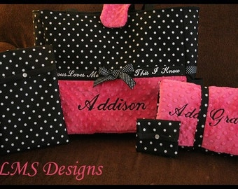 Personalized Baby Girl Minky XL Diaper Tote Bag With Changing Pad, Wipes Case and Pacifier Pouch