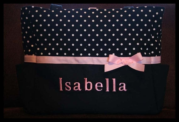 Personalized Baby Girl Monogrammed Polka Dots XL Diaper Tote Bag