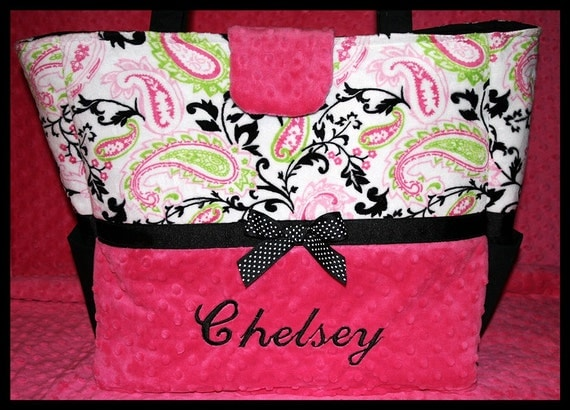 Baby Girl Diaper Bag~Fuchsia Paisley Monogrammed~Boutique~Posh~Personalized~XL~Handcrafted in USA~Full Minky Tote~