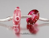 Raspberry Fizzle Pandora Style Duo - Made by Hand Glass Beads